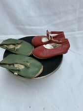 Two Pairs of antique vintage children's shoes, baby shoes, Red leather & Green