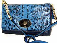 Coach Crosstown Crossbody Exotic Embossed Navy Blue Leather 36527 NWT $225