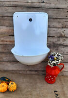 Wall mounted Bathroom sink, Wall Fountain, enamelware laundry sink storage