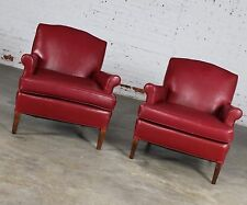 ON SALE! Vintage 1940s Red Vinyl Club Chairs a Pair