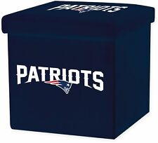 NFL New England Patriots STORAGE OTTOMAN w Lid Square Seat Collapsible Organizer