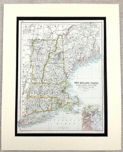 1899 Antique Map of New England Long Island new York USA 19th Century Original