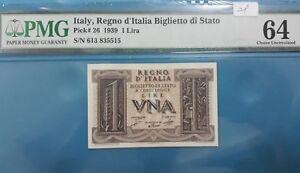 1939 Italy 1 Lira PMG64 UNC <P-26>