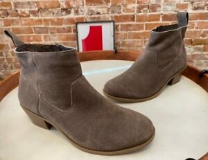 Vionic Greige Water-Resistant Suede Ankle Boots Vera New