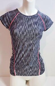 Athleta Women's Workout Plus Pop Space Dye Zip Back Gray Top! Size XXS
