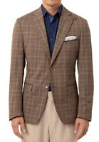 Tallia Mens Sport Coat Brown Blue Size 36 Short Slim-Fit Plaid Blazer $350 168