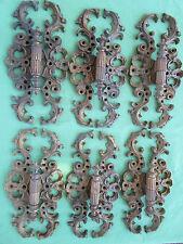 6 moustaches charnières exceptionnelle laiton doré meuble portes ht 25 cm ancien