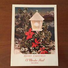 Vintage Palm Springs El Mrador Hotel 1960's Chtistmas Menu-Nce