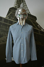 Lacoste Men's Blue&White Striped Long Sleeved Shirt Size 38 (Small)