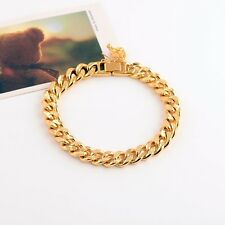 """18k Yellow Gold Filled Men's Bracelet 9"""" Link Curb Chain Charms Fashion Jewelry"""