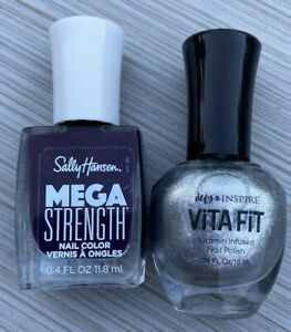 Sally Hansen Mega Strength Nail Color 046 Rule Breaker Purple Viva Fit Silver X2
