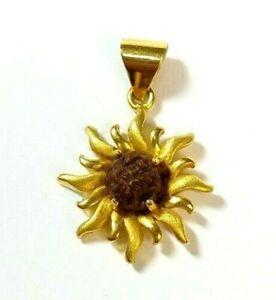 22k Yellow Gold Sun Pendant with Rudraksha