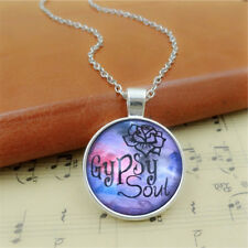 1pc Gypsy Soul Glass Cabochon Pendant Necklace Antique bronze gift Newly
