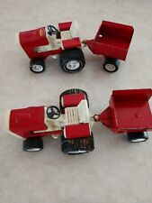 Tonka Pressed Steel Red Garden Tractor With Wagons Set Of 2