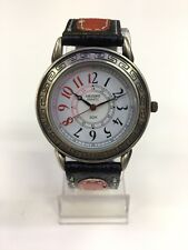 Orient Japan Quartz White Dial Black Red Leather Band Watch