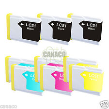 9 Pack LC51 NON-OEM Ink Cartridge Brother Printer MFC-685CW MFC-440CN LC51