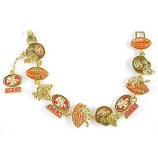 NFL Football San Francisco 49ers NFC Gold Charm Bracelet