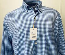 Peter Millar New Summer Comfort Mens Large Dress Shirt Blue White Pink Plaid