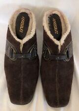 Aerosoles Brown Suede Leather Slide Slip On Heel Pump Mule Clog Buckle Sz 8.5 M