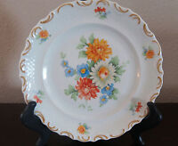 Schumann-Bavaria Dresden Flowers Scalloped Rim Salad Plates 1 FloralBasket Weave