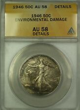 1946 Walking Liberty Silver Half 50c ANACS AU-58 Details Envi (Better Coin)