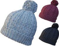 Womens Oversize Pom Pom Beanie Hat Chunky Slouch Winter Beanies Knitted Ski Cap