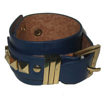 Leather Buckle Bracelet Wide gold plate & Navy Blue Adjustable
