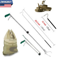 47'' Heavy Duty Snake Tongs Reptile Catcher Grabber Stick Bag Hook Foldable Tool
