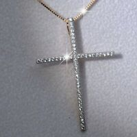 18k yellow gold made with Swarovski crystal thin skinny cross pendant necklace