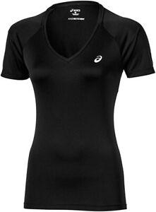 Asics Women's Tennis Top Short Sleeve Club V-Neck Top - Black - New