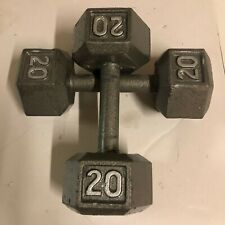 20 lbs Dumbbell Pair Cast Iron Workout Equipment Weights - TOTAL 40LBS