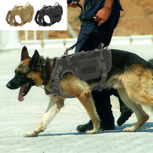 Tactical Dog Harness with 2 Pouches Dog Training Molle Vest & Strong 2X Handles
