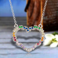 14k White Gold Finish 0.50 Ct Multi Color Stone Heart Shape Pendant Necklace
