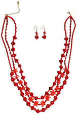 CORAL BEAD NECKLACE/EARRING SET 'RED'