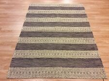 Contemporary Modern Handwoven Brown Cream Wool Dhurrie Rug S - XXL Sizes 60% OFF