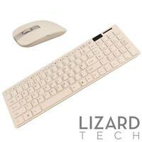 Blanco Delgado Inalámbrico 2.4ghz Ghz USB Set de Teclado y Ratón para Apple