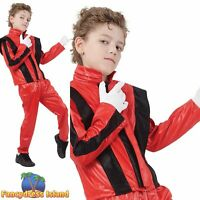 80s MICHAEL JACKSON THRILLER SUPERSTAR - Age 3-13 - Boys Fancy Dress Costume