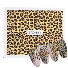 Nail Art Water Decals Stickers Transfers Brown Leopard Animal Print (851)