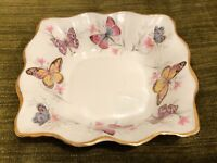 "VTG ROSINA QUEEN'S FINE BONE CHINA BUTTERFLY BUTTERFLIES  5"" SQUARE NUT DISH"