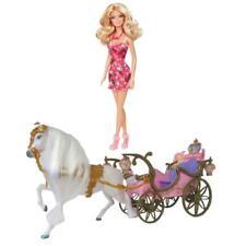 Mattel Barbie Puppe Blond ROSA Schuhe + Prinzessinnen Kutsche Pferd Licht