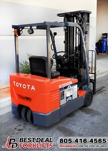QTY 30: Refurbished 2016 Toyota 7FBEU20 3 Wheel Electric Forklifts | LOW HOURS