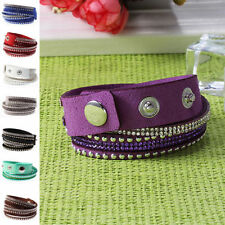 Rhinestone Leather Chain/Link Costume Bracelets