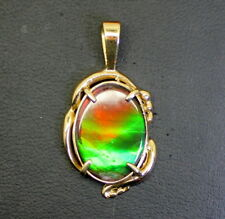 Gorgeous 14K Gold Large Oval Ammolite Hand Made Pendant 18.5mm-13mm
