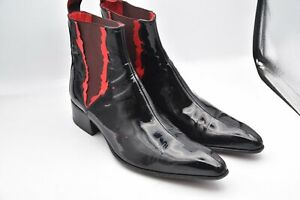 Jeffery West Muse Patent Black Hand Made Italy Boots Shoes MEN'S SZ 7 US 9
