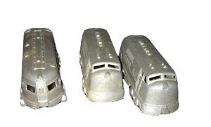 Midgetoy 3 Metalic Silver Trains & Passenger Cars Paint Wear