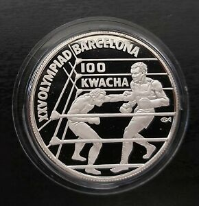 ZAMBIA - SILVER PROOF 100 KWACHA COIN 1992 YEAR KM#28 BOXING BARCELONA OLYMPIC