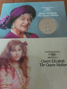1990 QUEEN MOTHER 90TH BIRTHDAY 5 FIVE POUND COIN ROYAL MINT PACK