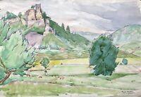 Acquerello Impressionista Castello Neideck Franca Svizzera Firmato Krause Datato