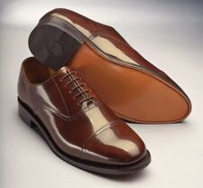 Samuel Windsor Mens Classic Oxford Handmade Chestnut Brown Leather Lace up Shoes 10