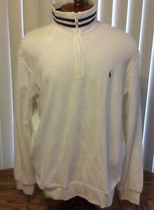 Polo Ralph Lauren NWT White Blue Trim 1/4 Zip Pullover Track Jacket Cotton XL